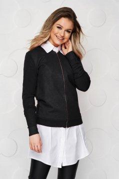 Bluza tip bomber dama SunShine neagra casual cu croi larg din material elastic