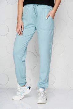 Turquoise trousers medium waist from elastic fabric ribbon fastening