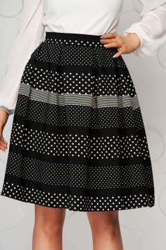 Office cloth black cloche skirt StarShinerS with medium waist dots print