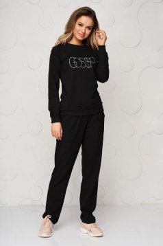 Black sport 2 pieces loose fit with pockets women`s trousers