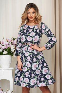 Office dress StarShinerS midi pink cloche with elastic waist thin fabric