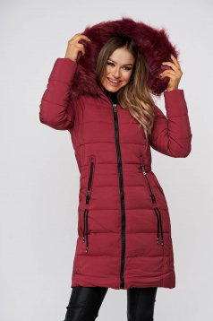 Burgundy jacket midi from slicker detachable hood with faux fur lining