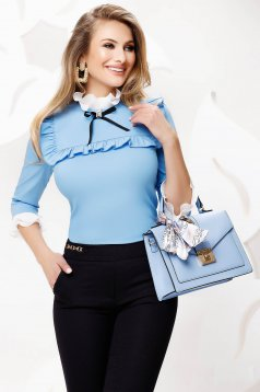 Lightblue tented slightly elastic fabric office women`s shirt with bow accessories