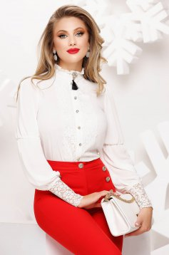 Elegant white women`s shirt thin fabric with lace details with turtle neck