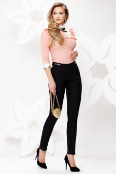 Black trousers cloth conical office thin fabric with pockets medium waist