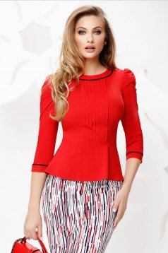 Women`s shirt asymmetrical red office tented thin fabric high shoulders
