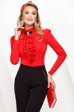 Women`s shirt red tented office slightly elastic fabric accessorized with breastpin