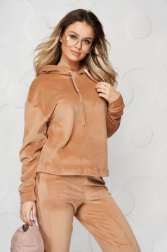Brown casual sport 2 pieces 2 pieces loose fit with undetachable hood