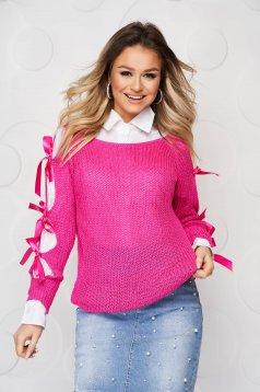 Pulover SunShine fuchsia casual tricotat cu croi larg accesorizat cu fundite