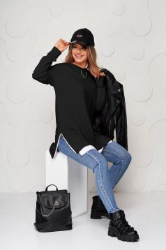 Black casual loose fit women`s blouse metallic chain accessory slightly elastic fabric