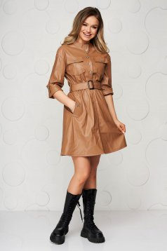 Brown from ecological leather casual dress accessorized with belt