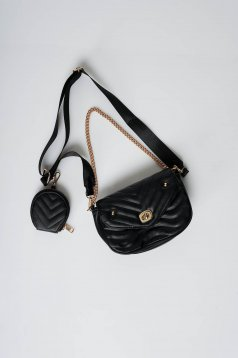 Black bag from ecological leather purse
