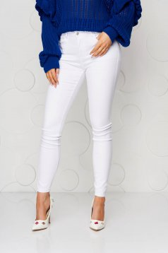White casual skinny jeans jeans high waisted from elastic fabric
