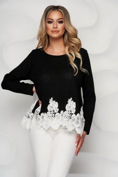 Black knitted loose fit women`s blouse with lace details