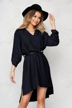 Rochie tip camasa albastru-inchis scurta de zi cu un croi drept din material subtire