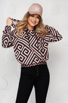 Black women`s blouse from elastic fabric with graphic details short cut