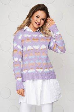 Bluza dama mov casual tricotata cu croi larg cu imprimeuri grafice