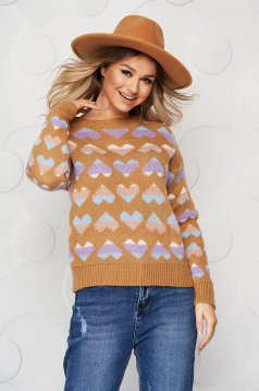 Brown casual knitted women`s blouse loose fit with graphic details
