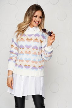 White casual knitted women`s blouse loose fit with graphic details