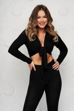 Trening SunShine negru mulat cu pantaloni cu elastic in talie si bluza cropped
