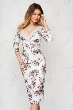 Elegant cappuccino dress StarShinerS midi pencil cloth waist pleats