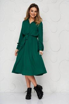 Rochie Top Secret verde midi in clos din material subtire cu cordon detasabil
