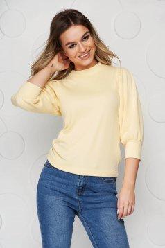 Bluza dama Top Secret galbena cu croi larg cu maneci trei-sferturi bufante
