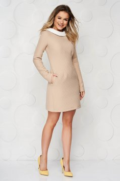 Cream dress from thick fabric straight