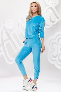 Lightblue sport 2 pieces velvet loose fit with front pockets