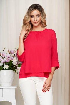 Bluza dama SunShine roz eleganta din voal cu maneci transparente si croi larg