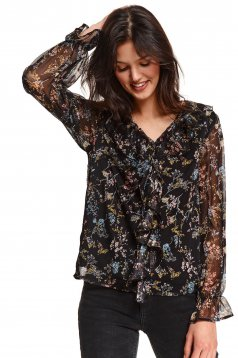 Bluza dama neagra Top Secret cu imprimeu floral din voal cu volanase