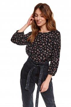 Bluza dama Top Secret neagra cu imprimeu floral cu maneci prinse in elastic cu croi larg