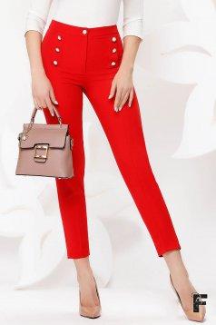 Pantaloni Fofy rosii office conici cu talie inalta din stofa usor elastica accesorizati cu nasturi