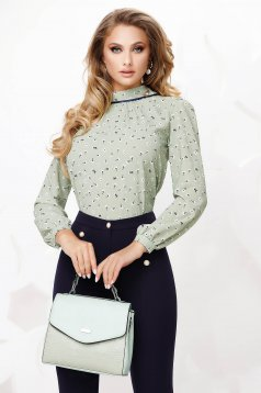 Green women`s blouse office loose fit with floral print