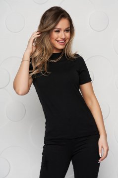 Black women`s blouse short sleeve cotton with turtle neck