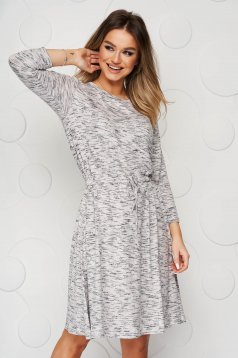 Grey dress cloche with elastic waist from elastic and fine fabric midi ribbon fastening