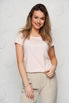 Lightpink t-shirt cotton loose fit with graphic details