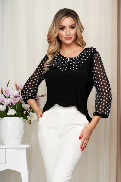 White women`s blouse from elastic and fine fabric with ruffles on the chest occasional