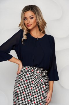 Darkblue office asymmetrical loose fit women`s blouse short cut from veil fabric with metal accessories