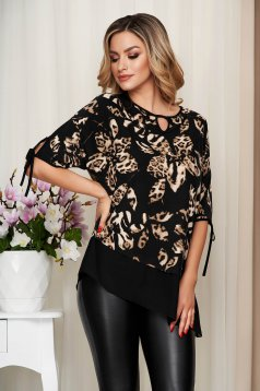 Brown women`s blouse voile details from elastic and fine fabric loose fit
