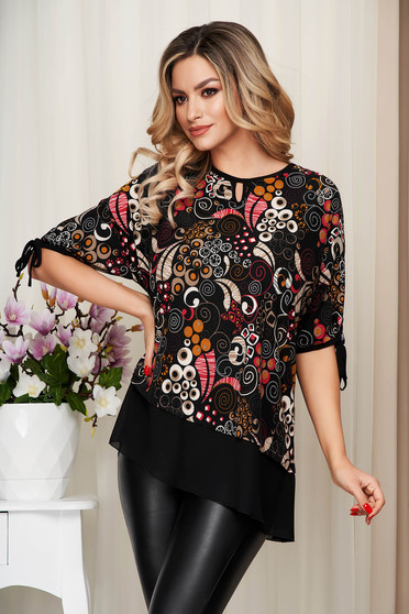 Pink women`s blouse voile details with graphic details from elastic and fine fabric