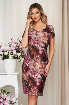 Bricky dress with floral print pencil with inside lining from elastic fabric