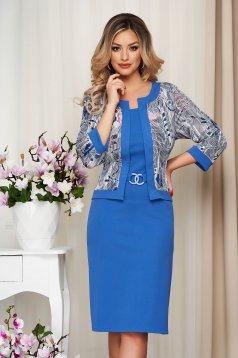 Rochie Lady Pandora albastra tip creion din material usor elastic