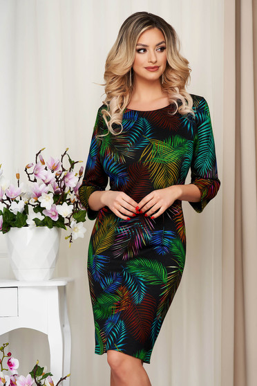 Green dress midi pencil knitted thick fabric from elastic and fine fabric