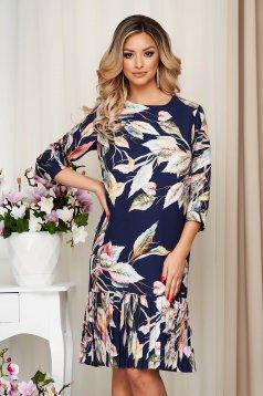 StarShinerS darkblue dress with floral print midi straight nonelastic fabric