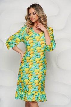 StarShinerS lightgreen dress with ruffle details nonelastic fabric straight midi