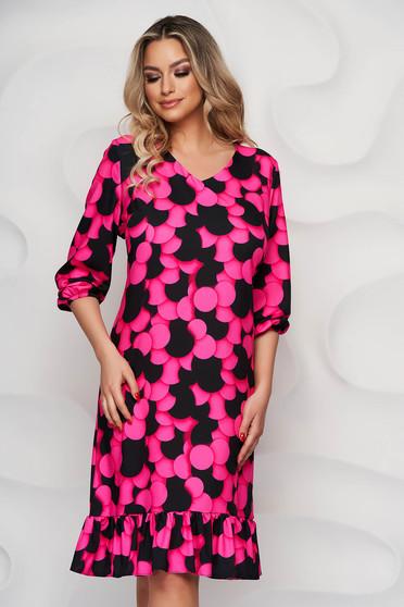 StarShinerS pink dress with ruffle details nonelastic fabric straight midi