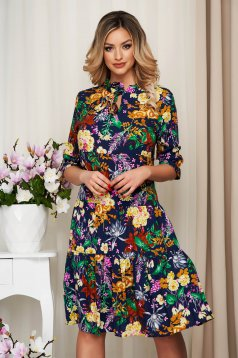 StarShinerS darkblue dress nonelastic fabric with ruffle details with floral print