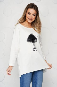 White women`s blouse elastic cotton with graphic details