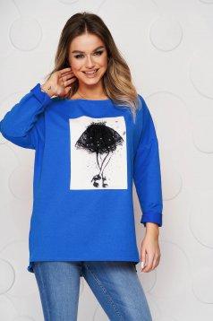 Bluza dama SunShine albastra din bumbac elastic slit lateral cu imprimeuri grafice